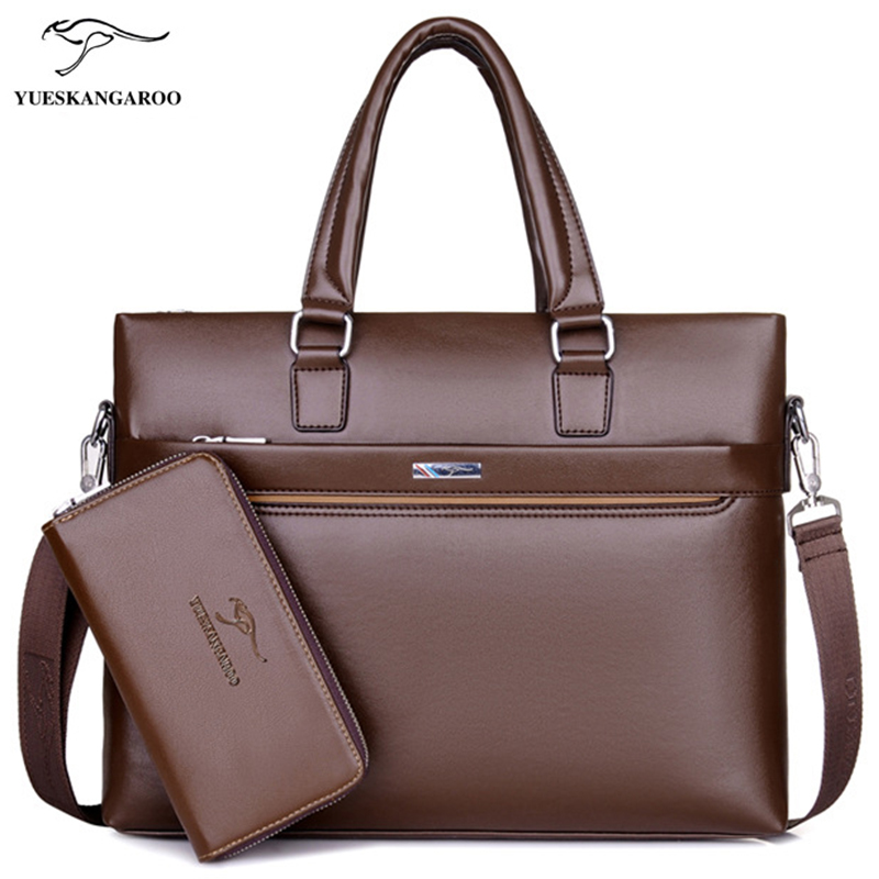 YUES KANGAROO Fashion Men Tote Casual Briefcase Laptop Handbag Business Shoulder Bag Black Leather High Quality Messenger Bags new high quality leather men laptop briefcase bag 14 inch computer bags handbag business bag fashion laptop handbag for men