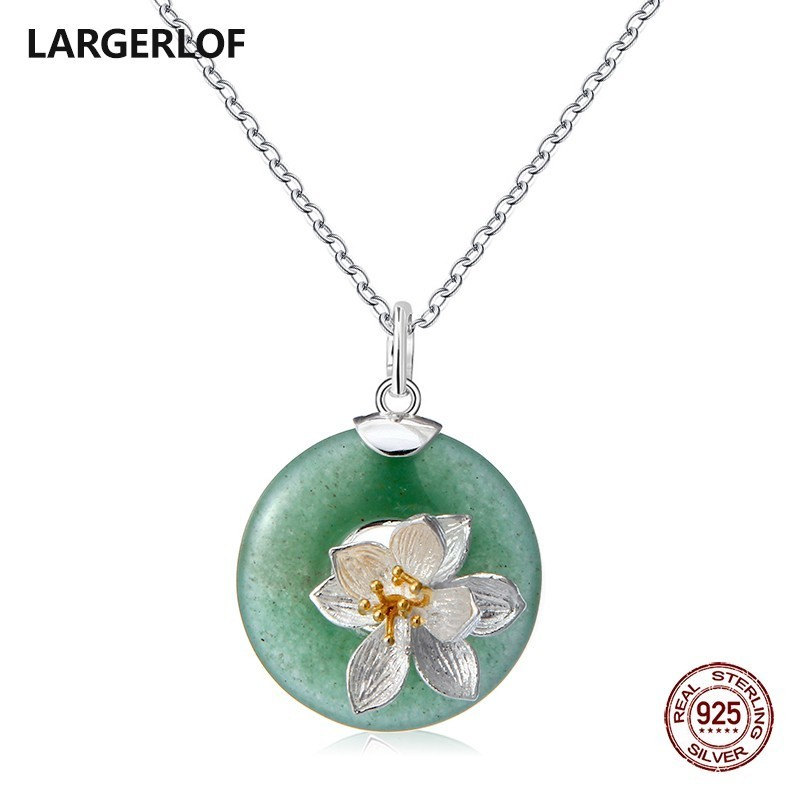 LARGERLOF Sterling Silver Necklace Women Jade Natural Stone Necklace Silver 925 Jewelry Pendant Silver 925 PD47020 ying vahine 925 sterling silver jewelry shiny stars pendant necklace