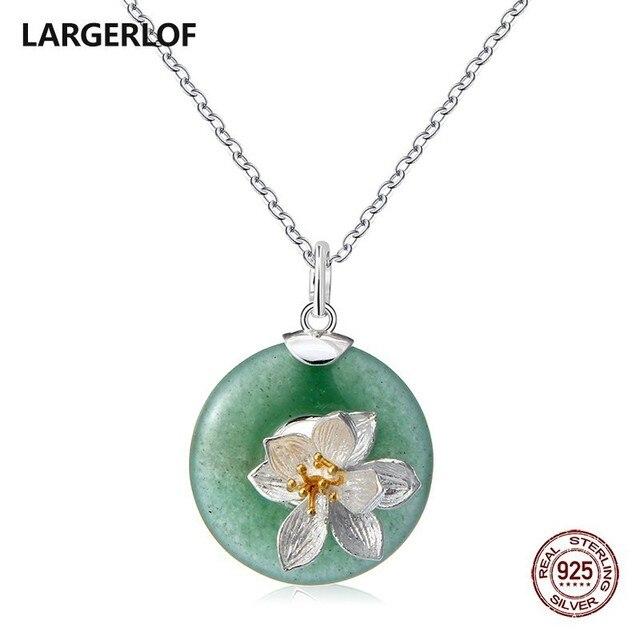 LARGERLOF ожерелье из стерлингового серебра женское Нефритовое ожерелье из натурального камня серебро 925 ювелирные изделия Кулон Серебро 925 PD47020