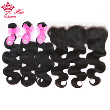 hot deal buy 100% brazilian human hair body wave 3 bundles weaves with lace frontal human hair remy weaving queen hair products free shipping