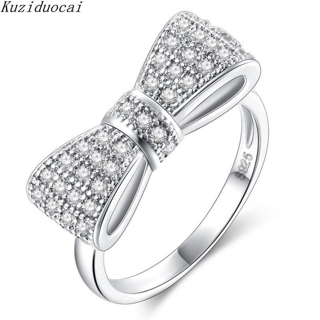 Kuziduocai 2018 New Fashion Fine Jewelry Stainless Steel Zircon Bow Knot Stereoscopic Carving Wedding Rings