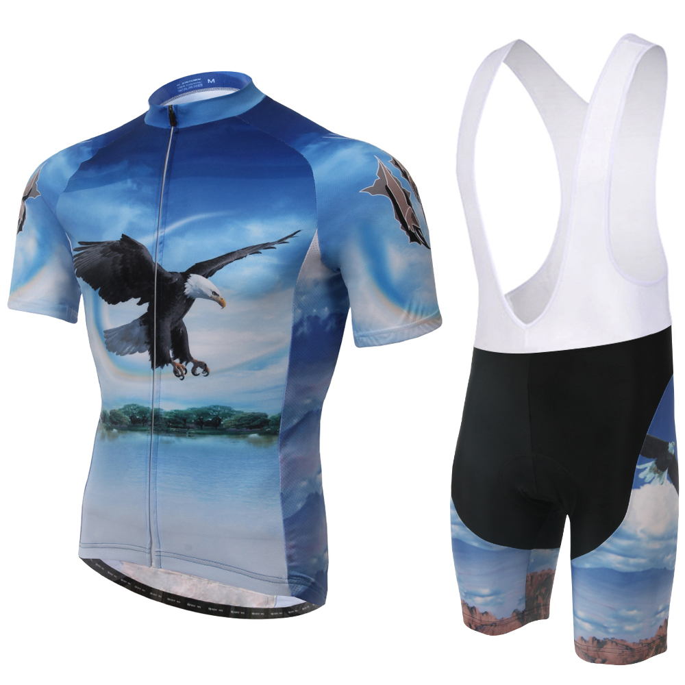 Men Cycling Clothing Jerseys Racing Bicycle Short Sleeve Jersey And Bib Short Set Quick-Dry Breathable The Eagle