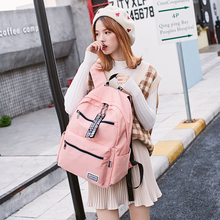 Canvas backpack female new college wind Oxford cloth portable Korean fashion