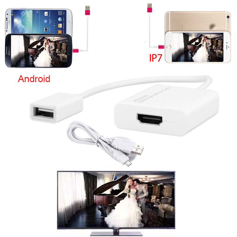 imágenes para De Audio y Vídeo Adaptador de Android IOS a HDMI HD TV Proyector Para el iphone 7 6 s 6 Plus Para SAMSUNG S8 S7 Borde Más Nota 5 LG G6 G5