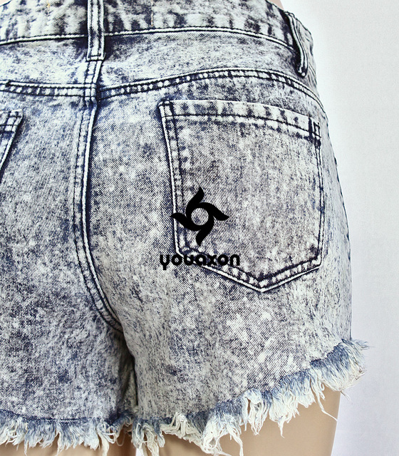 Women`s Brand New Fashion High Waist Ripped Acid Washed Denim Shorts For Woman Free Shipping