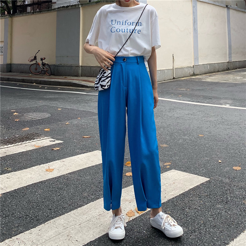 HziriP 2019 Fashion Brief Slender Hot Casual High Waist Summer Women Loose Simple Solid Ankle Length   Wide     Leg     Pants   3 Colors