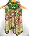 Arte Floral verão lenço De seda quadrado De algodão lenços De pescoço
