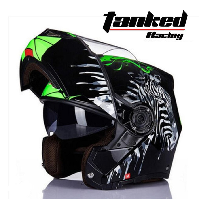 2019 New EU ECE Certification Tanked Racing Double lens Open Face Motorcycle Helmets ABS Flip Up Motorbike Helmet with PC visor 1