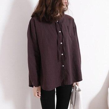 Johnature Women Cotton Linen Shirt 2018 Spring New Long Sleeve Blouse Vintage Casual Women Button Shirts Рубашка