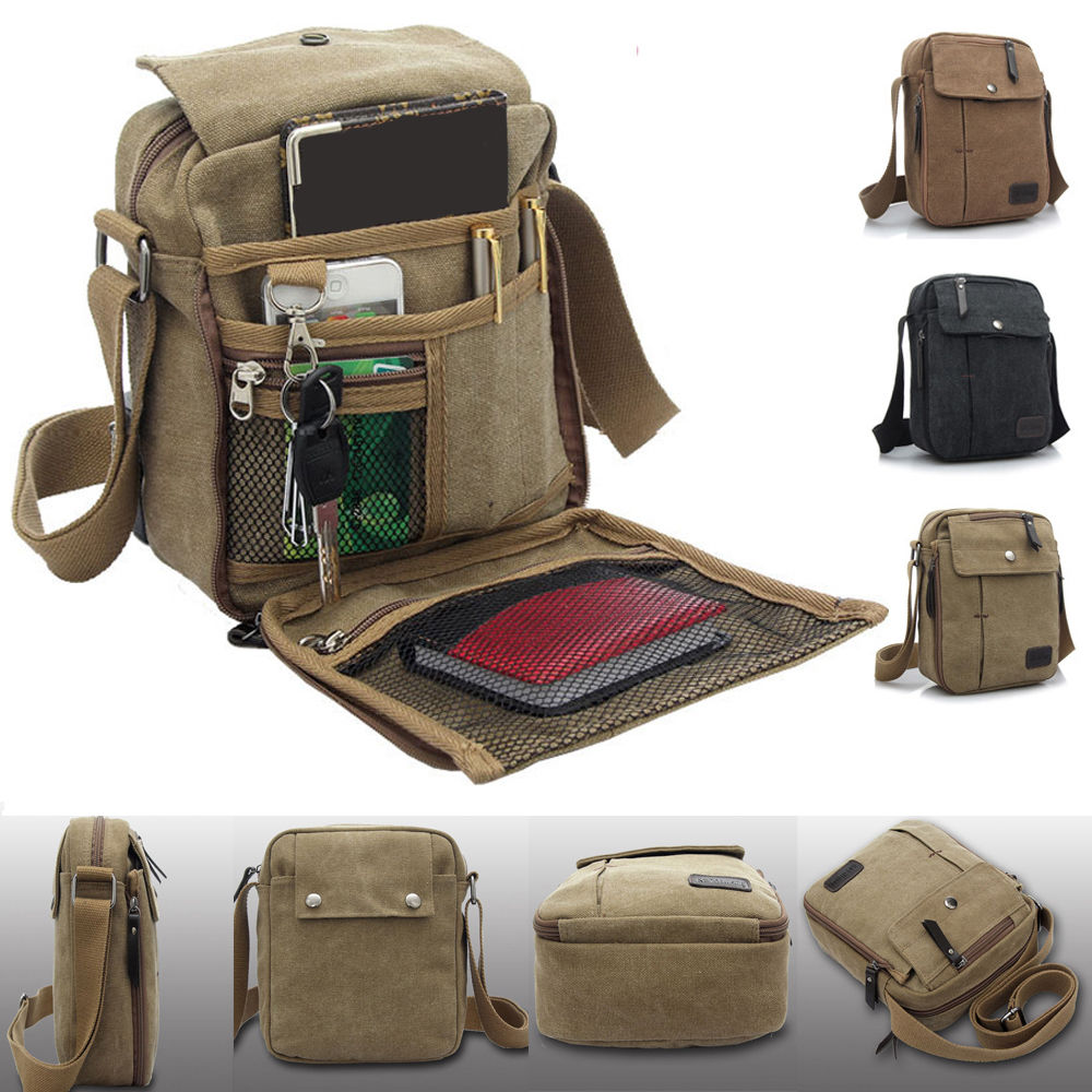 7989c8d49a10 Men Boys Classical Vintage Canvas Leather Satchel School Military Shoulder  Bag Messenger Bag