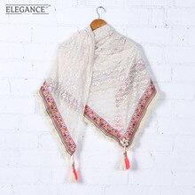 Elegance Bohemian Triangle Shawl Scarf for Women Holiday Beach Sun Protection White Lace Ethnic Style Tassel Fringe Pashmina ethnic flower and geometry pattern tassel shawl pashmina