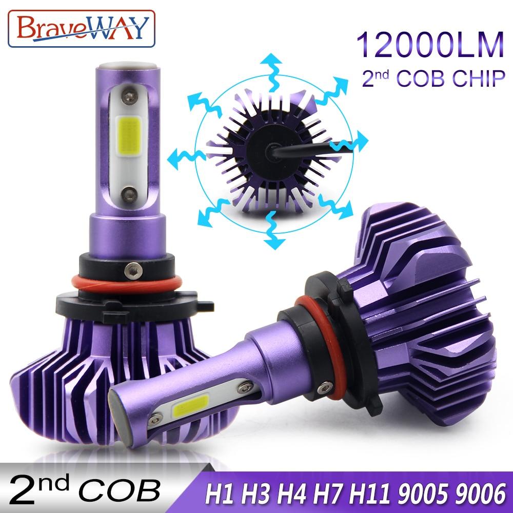 BraveWay Diodo Emissor de Luz para Auto Levou H4 H7 H11 9005 9006 H1 Diodo Automóvel Farol Lâmpada Led Farol Do Carro de Gelo lâmpadas H1 Lâmpadas LED