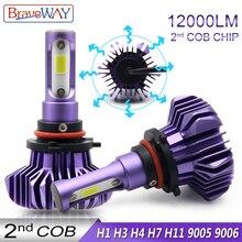 BraveWay Светодиодная лампа для авто H4 H7 H11 9005 9006 H1 светодиодная фара для автомобиля автомобильные диодные лампы H1 светодиодные лампы для авто аксесуары птф
