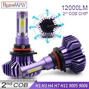 Image 1 - BraveWay ampoule de glace pour phares automobiles, lumière Led Led H4 H7 H11 9005 9006 H1 phare voiture Led lampes à diodes automobiles H1 ampoule LED