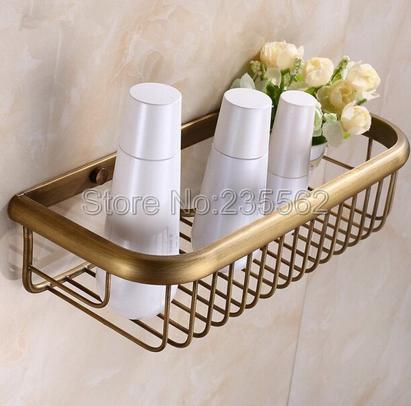Free Shipping Antique Brass Bathroom Accessories / Wall Mounted Brass Soap  / Sponge Shower Storage Basket Cba030 In Bathroom Shelves From Home  Improvement ...