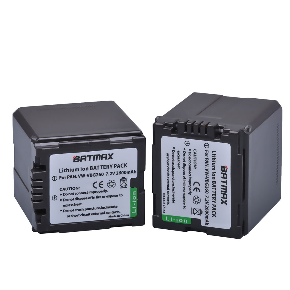 2Pcs VW-VBG260 VW VBG260 VBG130 Battery for <font><b>Panasonic</b></font> AG-AF100 AG-HMC150 HDC-HS300 700 HDC-SD700 T750 HDC-TM300 700 <font><b>SDR</b></font>-<font><b>H80</b></font> image