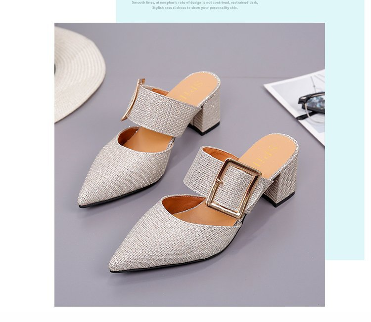 2019spring New Thick with Muller Shoes Women's High Heels Pointed Belt Buckle Back Air Slippers Elegant Temperament Baotou 14