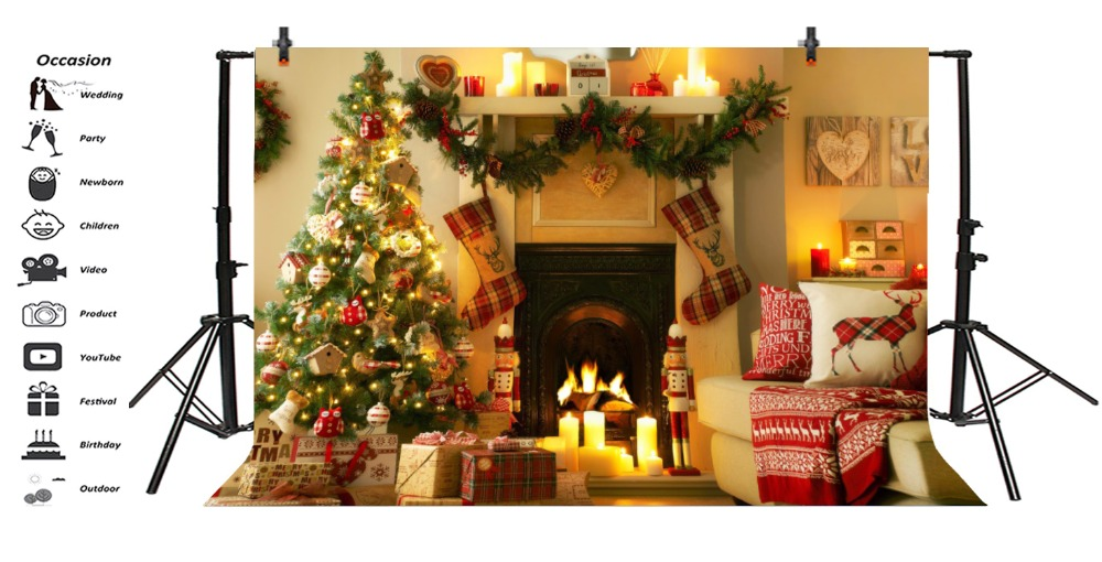 Laeacco Photo Backdrops Christmas Tree Colorful Bauble Gift Fireplace Sock Sofa Candle Photo Backgrounds Photocall Photo Studio in Background from Consumer Electronics
