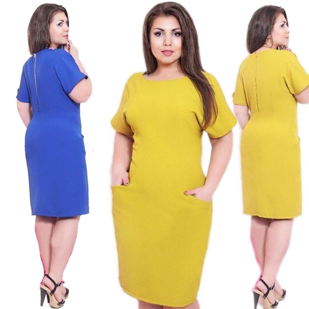 2016 Summer Women Plus Size Pocket Shift Dress Tunic Work Wear ...