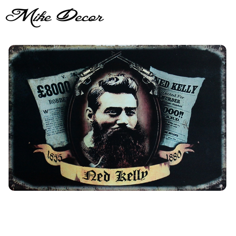 [ Mike86 ] Ned Kelly Metal Plaque Room Vintage tin sign Art Room Pub Decoration 20*30 CM AA-382