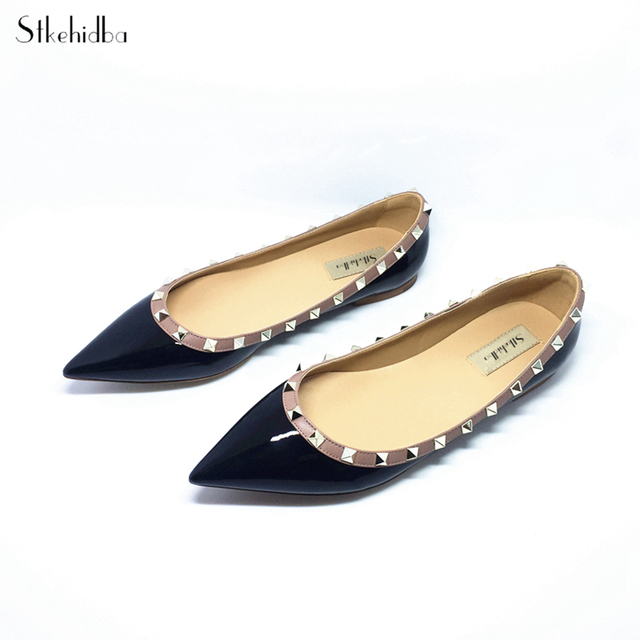 Stkehidba Women Shoes Rivet Flats Shoes Women Genuine Leather Shoes Ankle  Strap Pointed Toe Shoes Studded