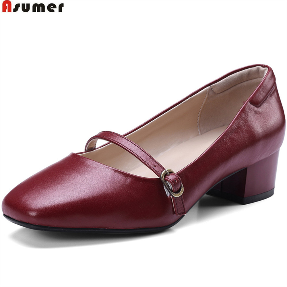 Asumer wine red beige fashion women pumps square toe genuine leather shoes square heel buckle shallow leather med heels shoes asumer beige fashion summer shoes woman square toe shallow elegant sandals women genuine leather high heels shoes
