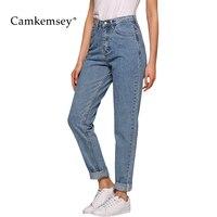 Camkemsey Casual Denim Harem Pants Women Classic High Waist Jeans 2018 Ankle Length Vintage Mom Jeans Woman Trousers