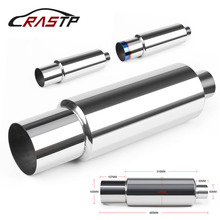 Universal Muffler Exhaust Polished Stainless Steel W/Burnt Tip Silencer 2.5 Inlet To 4.0 Outlet Exhaust Tip Muffler RS-CR1010 inlet 76mm 3 inches outlet 101mm universal 304 stainless steel burnt blue silencer exhaust pipe car muffler