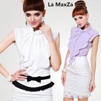 라 MaxZa 여성 여름 민소매 셔츠 활 칼라 blusa feminina 화이트 바이올렛 여름 최고 여성 블라우스 한국어 패션 의류