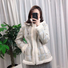 Natural real sheep fur coat sheepskin genuine leather jacket hooded thick warm parka Plaid Pattern lamb outerwear