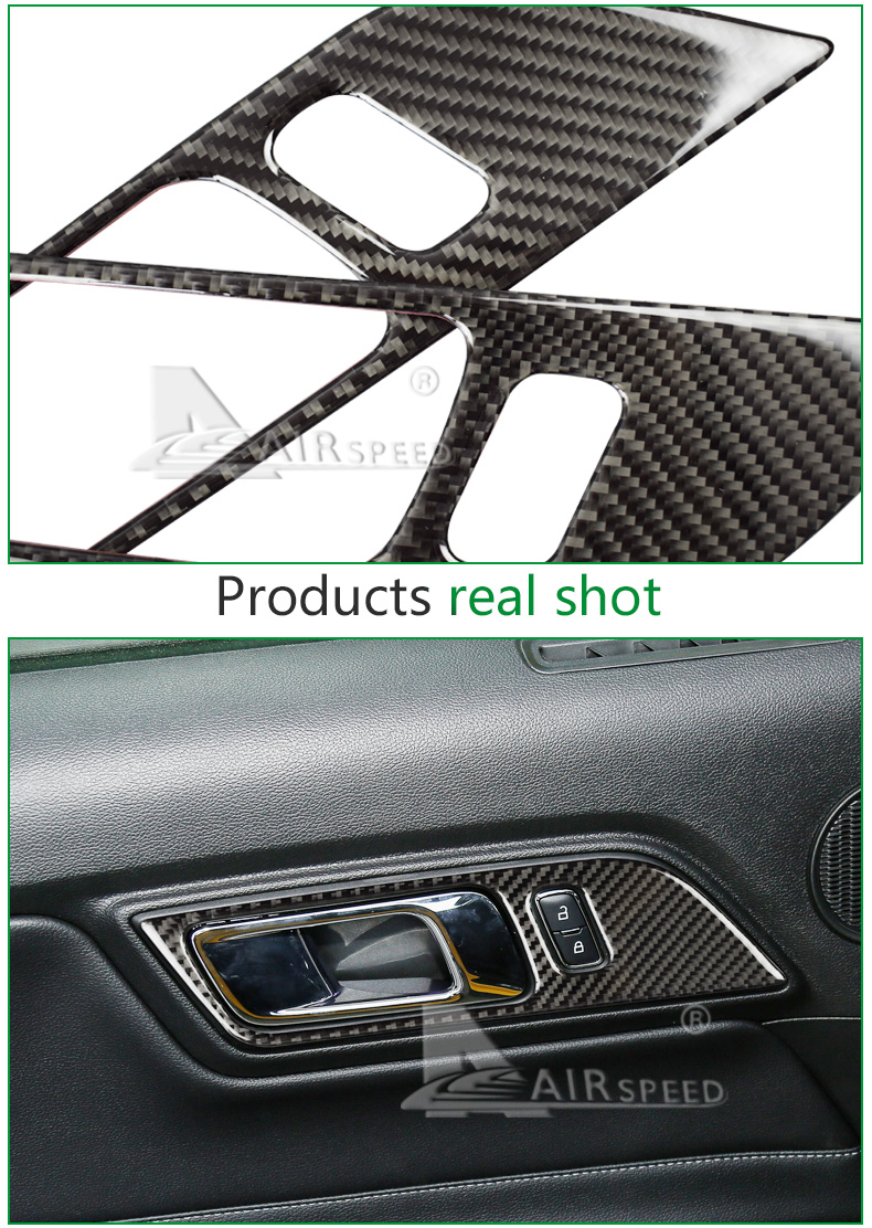 Airspeed carbon fiber Door inner Handles Door Bowl Decorative for Ford Mustang Car Stickers Car-Styling 2015 2016 2017