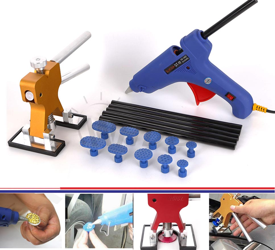 WHDZ PDR Dent Puller Tabs Dent Lifter with Glue Gun 12V Heat Gun PDR Hot Melt Glue Sticks Paintless Dent Repair Tools Hand Tools