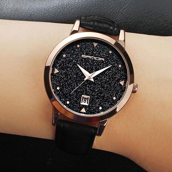 2018 Mode Schwarze Armbanduhr Frauen Uhren Damen Luxus Marke Famous