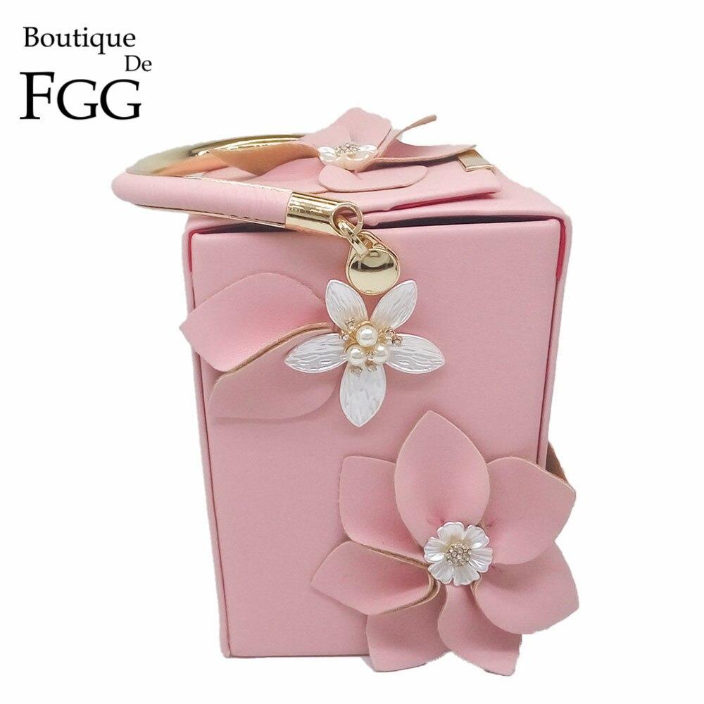 Boutique De FGG Unique Design Gift Box Shape Women Flower Clutch Evening Tote Bag Floral Beaded Wedding Handbag Purse Ladies Bag