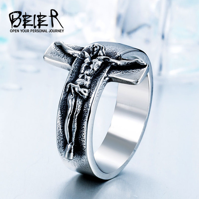 Beier Fashion Jesus Cross Ring 316L Stainless Steel Cool High Quality Men Jewelr