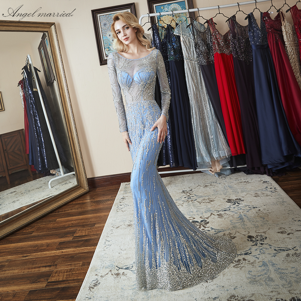 fda8a4183da Ангел замуж Роскошные вечерние платья платье-русалка для выпускного  открытой спиной блесток женское платье пажа