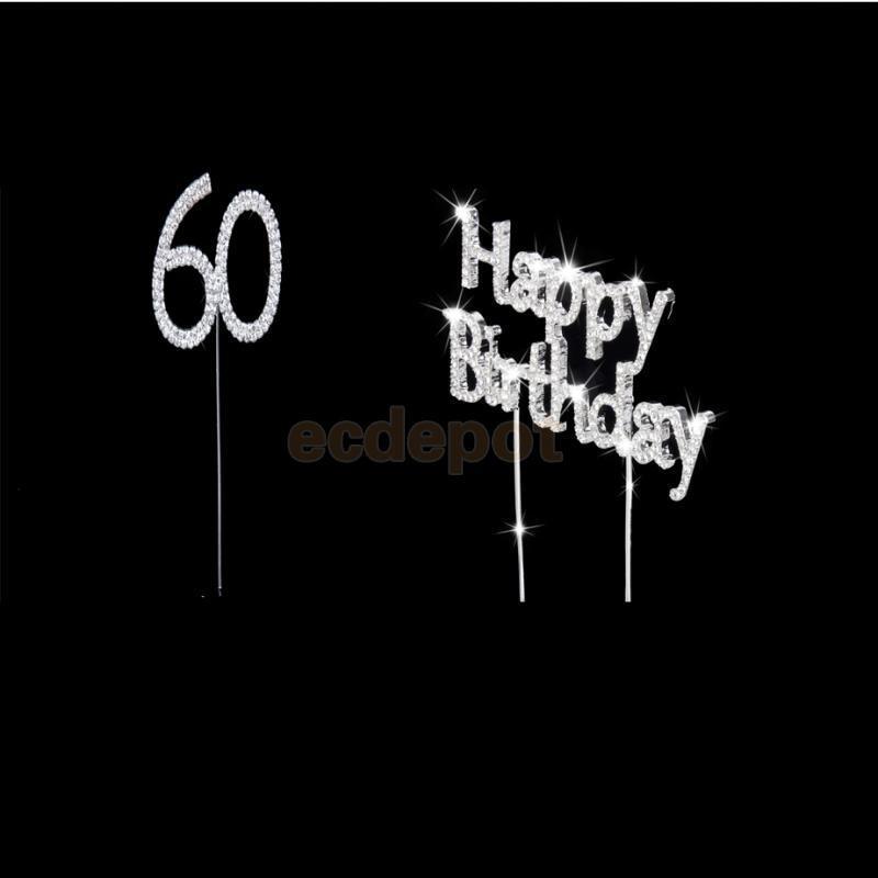 Кристалл счастливый Brithday + 60th торт Toppers bday Юбилей торт Декор