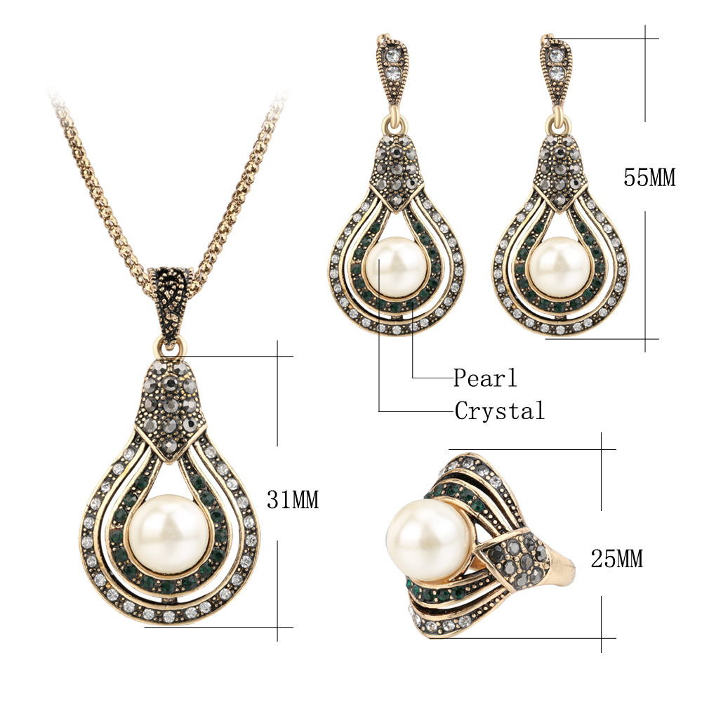 Kinel 3Pcs Vintage Jewelry Sets For Women Antique Gold Pearl Earrings Necklace Ring Wedding Party Female Turkish Jewelry