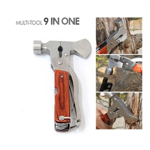 Mini Ax Stainless Steel Construction Wood Inlay Handle Multitool Axe Outdoor Portable Camping Hammer Hatchet Tool Hand Tools