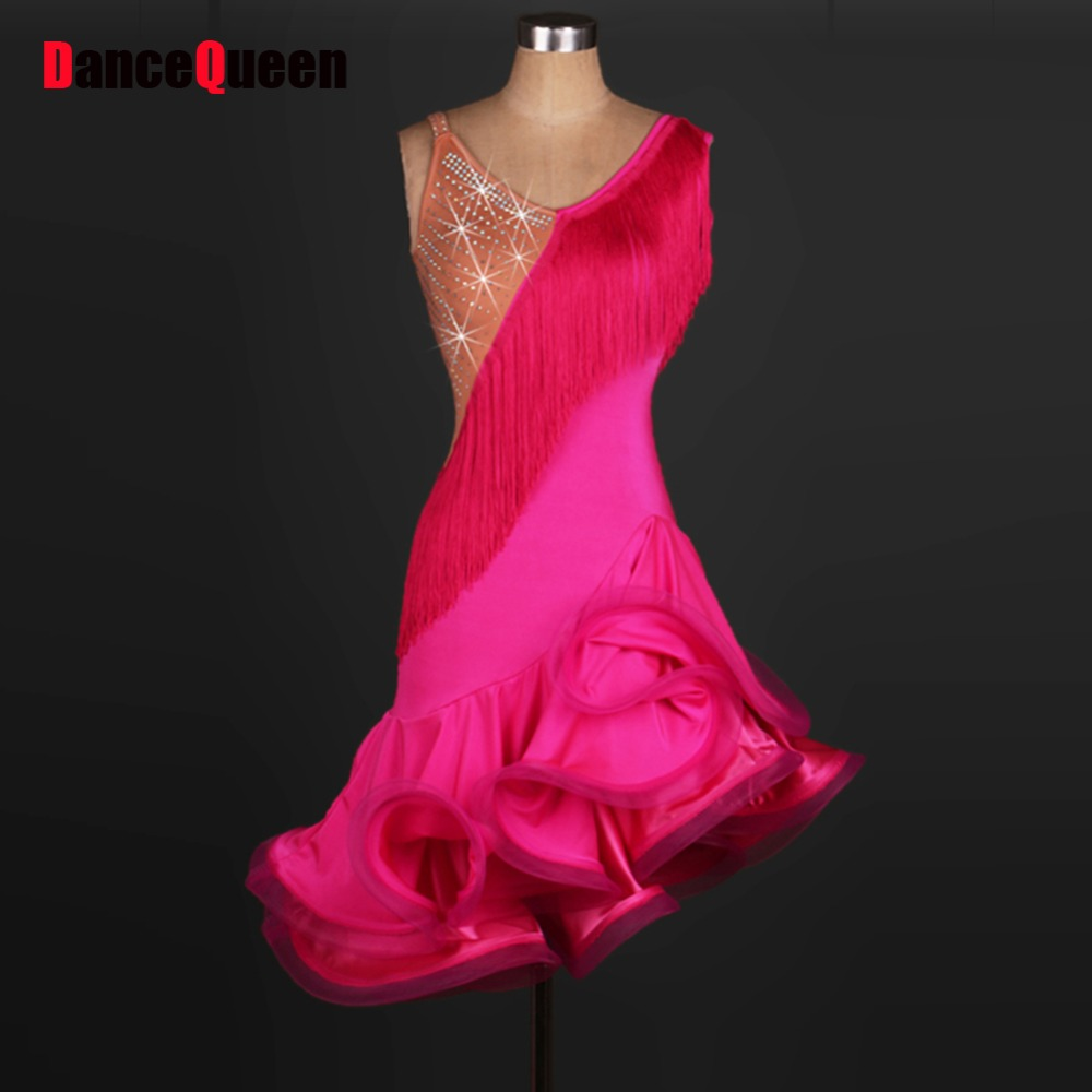2017 New ATS Ladies Women Latin Dance Dress Lake Blue Red Tassel Accesories Chacha Rumba Samba Flamenco Dance Dress