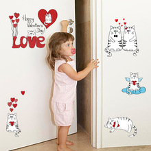 Brand New 2017 Creative Cartoon DIY Love Cat Heart Wall Stickers Home Decoration Bathroom Kitchen Wall Decals Bedroom Wallpaper