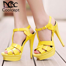 Coolcept free shipping quality genuine leather high heel platform sandals women sexy footwear fashion lady shoes hot sale 33-40 new fashion italian shoes with matching bags good quality hot sale women high heel shoes free shipping eth741 5