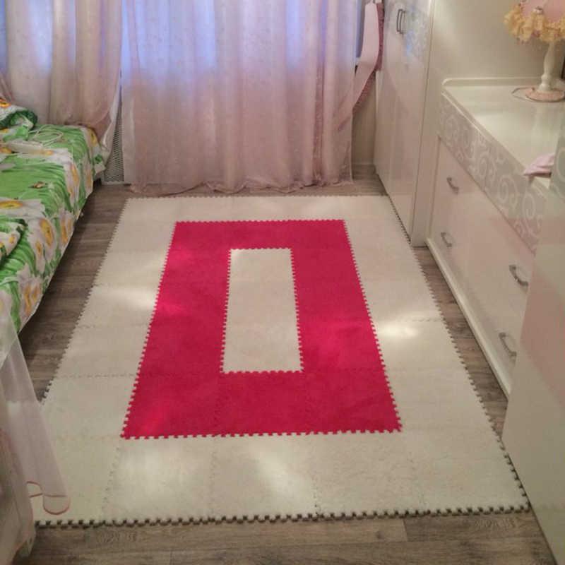 سجادة لينة لغرفة المعيشة عدد 8 قطع لغرف النوم بالمنزل سجادة ناعمة للأطفال برقع سحري برسومات الصور والرؤوس سجادة تسلق للأطفال 30x30cm