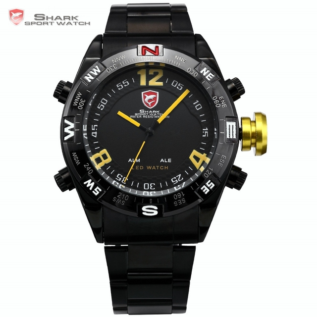 Brand SHARK Sport Watch LED Display Date Black Stainless Steel Band Yellow Quartz Male Tag Clock Relogio Men Gift Montre / SH099