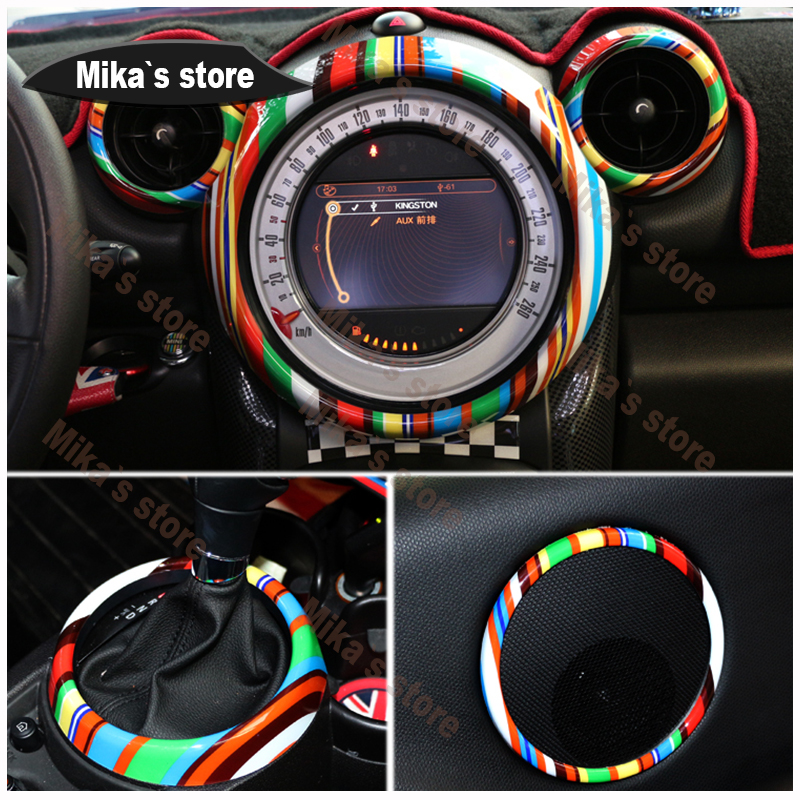 Купить с кэшбэком (8pcs) For BMW mini cooper countryman R60 car styling indoo decoration sticker Rings Center Dash Board  Decoration Circle Cover