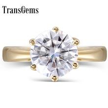 Transgemmes 14K or jaune 2 carats F couleur ronde Moissanite diamant bague de fiançailles pour femmes beaux bijoux
