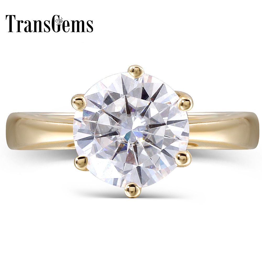 Transgems 14K Yellow Gold 2 Carat F Color 2.8MM Width Round Moissanite Diamond Engagement Ring for Women Fine Jewelry transgems 1 6 ctw carat lab grown moissanite diamond eternity band solid 14k yellow and white gold engagement anniversary ring