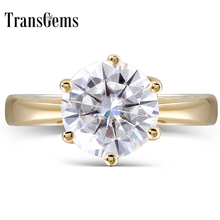 Transgems 14K Yellow Gold 2 Carat F Color Round Moissanite Diamond Engagement Ring for Women Fine Jewelry