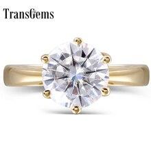 Transgems Anillo de compromiso de diamante de moissanita para mujer, oro amarillo de 14K, 2 quilates, Color F, joyería fina