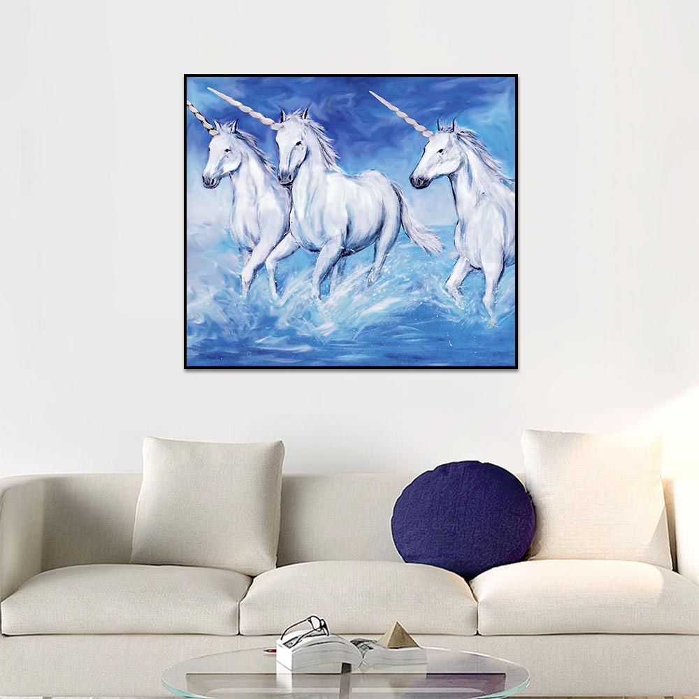 Unframed Canvas Prints Art Painting White Unicorn Seawater Prints Wall Pictures For Living Room Wall Art Decoration